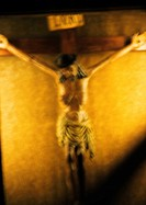 Crucifixion statue, blurred