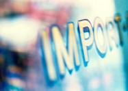 'Import' text, extreme close-up