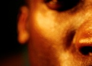 Man´s face, partial view, close up, blurred
