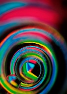 Spiraling light effect, rainbow colors