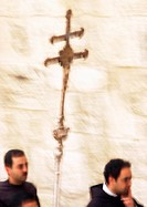 Israel, Jerusalem, procession with cross, blurry