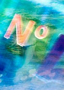 'No' typography overlaying abstract blue image, montage