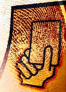 Extreme close-up of fingerprint, with hand holding card symbol, montage