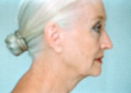 Mature woman, side view, close-up, portrait