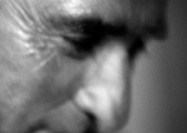 Mature man, partial view, close-up, portrait, blurred, b&amp;w