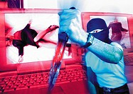 Masked man holding dagger, laptops with murder victims on screen in background, digital composite