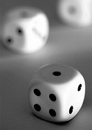 Dice, close-up, b&w