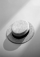 Straw hat, elevated view, b&amp;w
