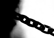 Metal chain, close-up, b&w