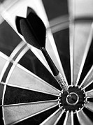 Dart in center of dartboard, close-up, b&amp;w