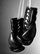 Boxing gloves, close-up, b&w