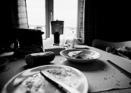 Leftovers on dirty table, b&amp;w