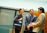 Three businesspeople standing and talking