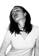 Woman puckering, portrait, b&w (thumbnail)