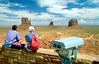 Visitors at entrance of Navajo park, Monument Valley. Utah. USA