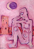 Painting of dejected man.