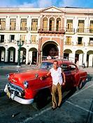 Cuba, Havana, Capitol place. Old American car