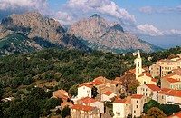 View of Evisa in Corsica Island. France