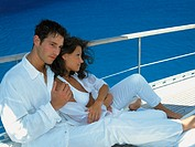Couple on sailing boat