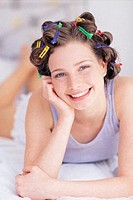 Woman with hairclips