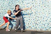 People skateboarding