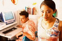 Couple with computer