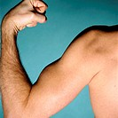 Male flexing muscles