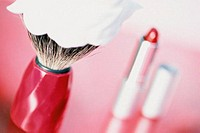 Lipstick and shaving brush
