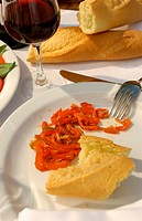 Peppers and bread on plate