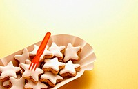 Star shaped iced biscuits