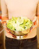 Woman holding freshly washed iceberg lettuce