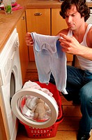 Father with laundry basket