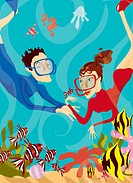 Couple Snorkelling Underwater