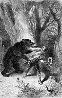 Bear attacking hunter. Engraving from 'Le tour du monde'