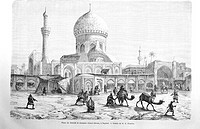 Market place and Ahmet-Khiaia mosque, Bagdad, drawing by M.E. Flandin. Engraving from 'Le tour du monde'