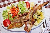 ´Rotja´ fish dish in restaurant. Portinatx, Ibiza. Balearic Islands, Spain
