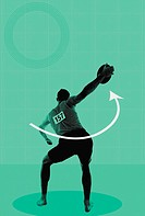 Rear view of a discus thrower (thumbnail)