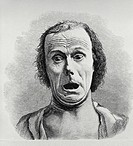 Fear.  Engraving of a terrified man´s face,  taken from Charles Darwin´s Expression of Emotion in Man and Animals (1872).  Such facial contortions are...