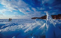 Canada, North America, America, cliffs, coast, ice, ice cover, frozen, Madeleine Islands, nature, people, Province o
