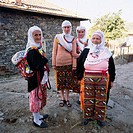 Bulgarian women with traditional costumes