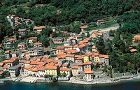 Aerial view of Santa Maria Rezzonico, by Lake Como. Lombardy, Italy