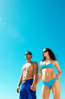 Couple wearing swimwear
