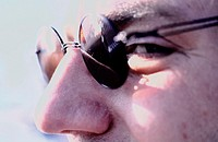 Man, face, detail, sun glass,