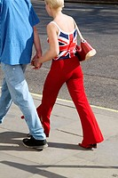 Couple with Union Jack shirt. London. England