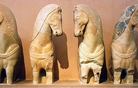 Horses of charriot statue at Acropolis Museum. Athens, Greece