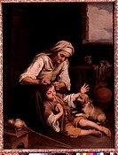 fine arts, Murillo, Bartolome Esteban 1618 _ 1682, painting The Toilette 1670 / 1675, Alte Pinakothek, Munich, Spanish, Spain, baroque, mother, older,...