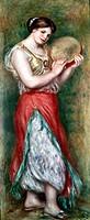 Ü Kunst, Renoir, Auguste (1841 - 1919),  Gemälde ´Tamburintänzerin´, 1909,  National Gallery, London  impressionismus, impressionistisch, frau tanzend...