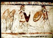 Kunst, Antike, Italien, zwei kämpfende Krieger und Harpyie, lukanische Grabmalerei, Museum Paestum fabelwesen Dämon, halb Frau halb Vogel Militär Kamp...
