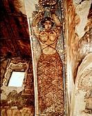 Kunst _ Arabisch, Tänzerin mit nacktem Oberkörper, Fresco, Jagdschloß Qasr Amra des Kalif Walid I., Jordanien um 700 Frau, Frauenfigur, Halbakt, Eroti...