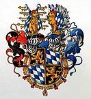 c. Heraldik hist.- Wappen, Deutschland, Herzogtum Bayern um 1600   Schild, Helm, Orden, Goldes Vlies, Helmzier, Löwe, keine Rauten sondern Wecken, Wit...
